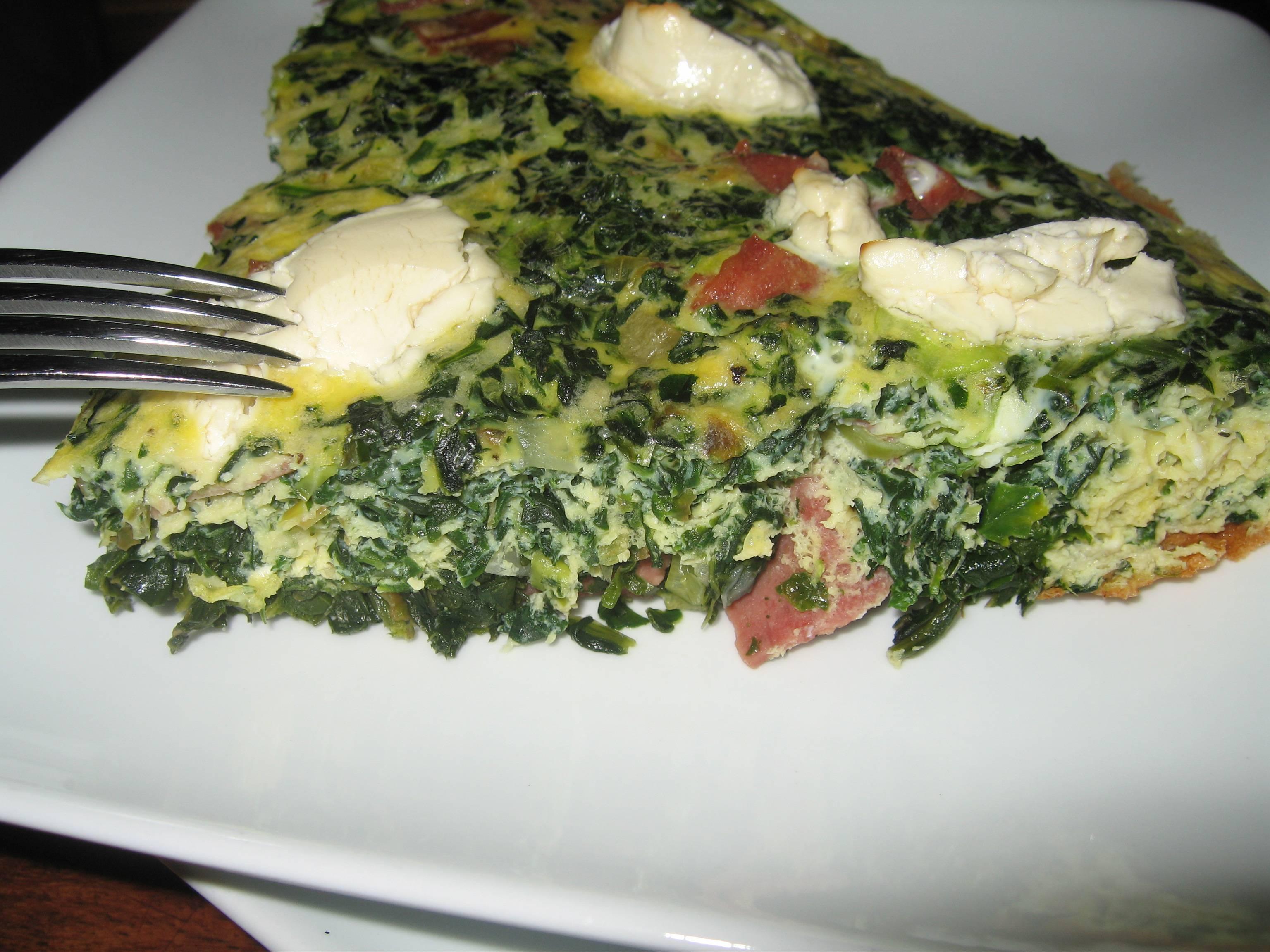 Сырная фриттата со шпинатом