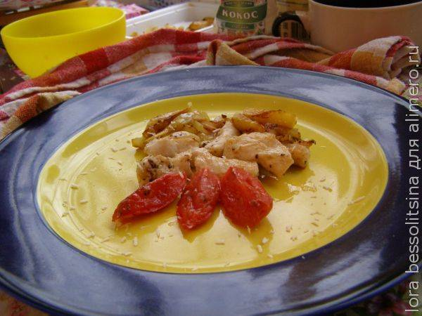 Куриная грудка с болгарским перцем и манго
