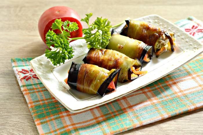 Рулетики  из баклажанов с морковью и чесноком - рецепт с фотографиями - patee. рецепты