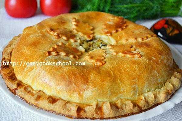 Пошаговый рецепт курника из блинов с курицей и грибами с фото