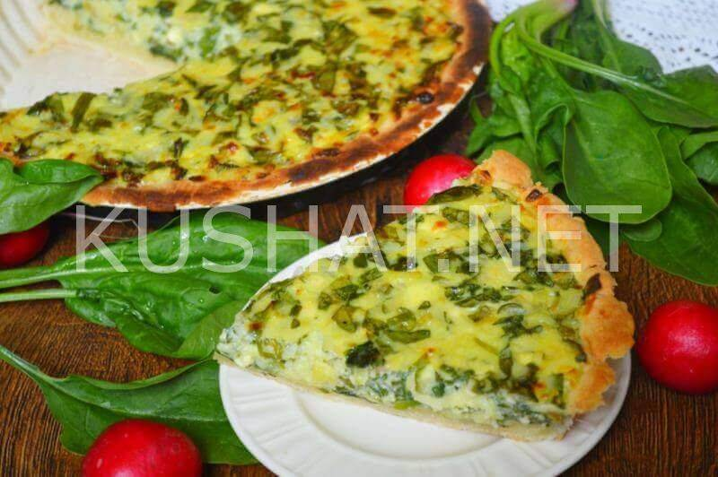 Пирог со шпинатом и творожным сыром