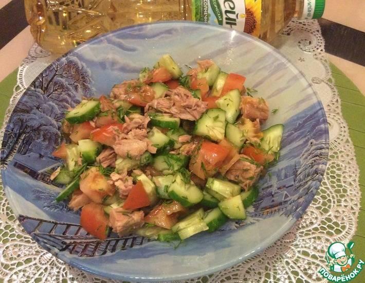 Салат с тунцом консервированным и огурцом