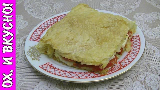 """Открытый пирог с помидорами """"томатная роза"""""""