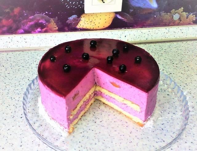 Двухцветный творожный торт со смородиной без выпечки