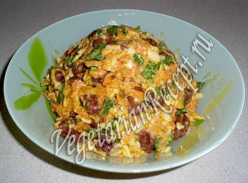 Рецепты салатов с консервированной фасолью и корейской морковкой