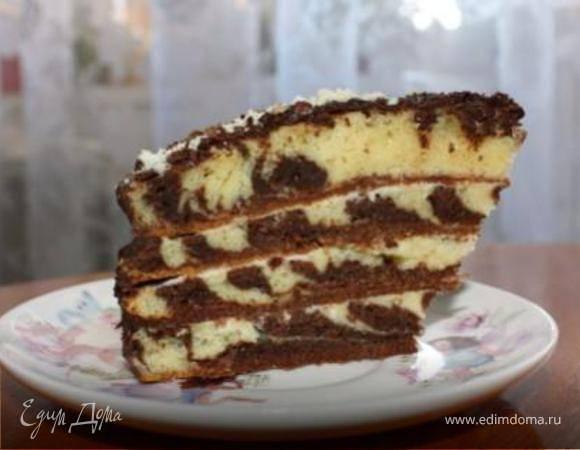 Пирог зебра на сметане: рецепт с фото пошагово в домашних условиях