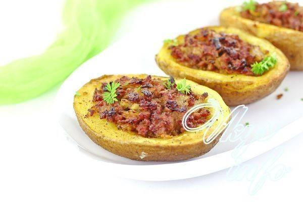 Запеченный фаршированный картофель рецепт приготовлени