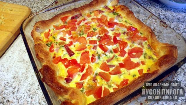 Пирог с сыром и помидорами