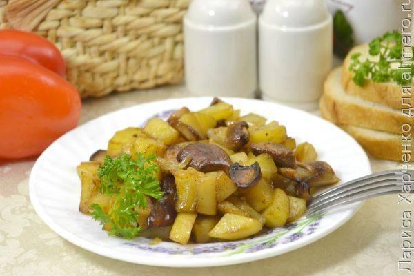 Картошка с белыми грибами и луком на сковороде - пальчики оближешь