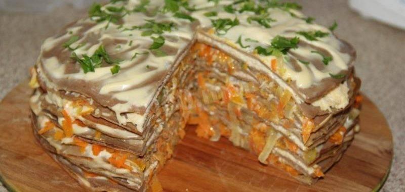 Печеночный торт из блинов с куриной, говяжьей или свиной печенью