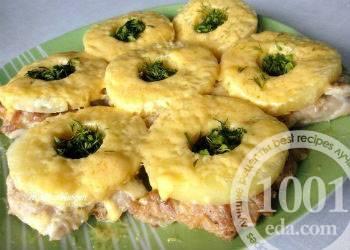 Куриные отбивные с ананасами и сыром по гавайски