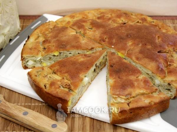 Постный заливной пирог с капустой