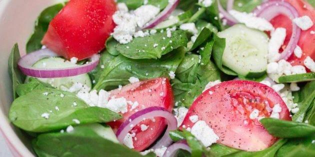 Рецепты салат со шпинатом и сыром