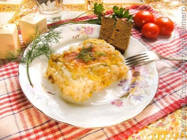 Картофельная запеканка с кроликом и кукурузой