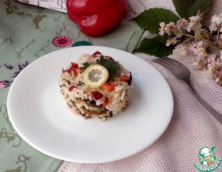 Белая фасоль с овощами и морепродуктами