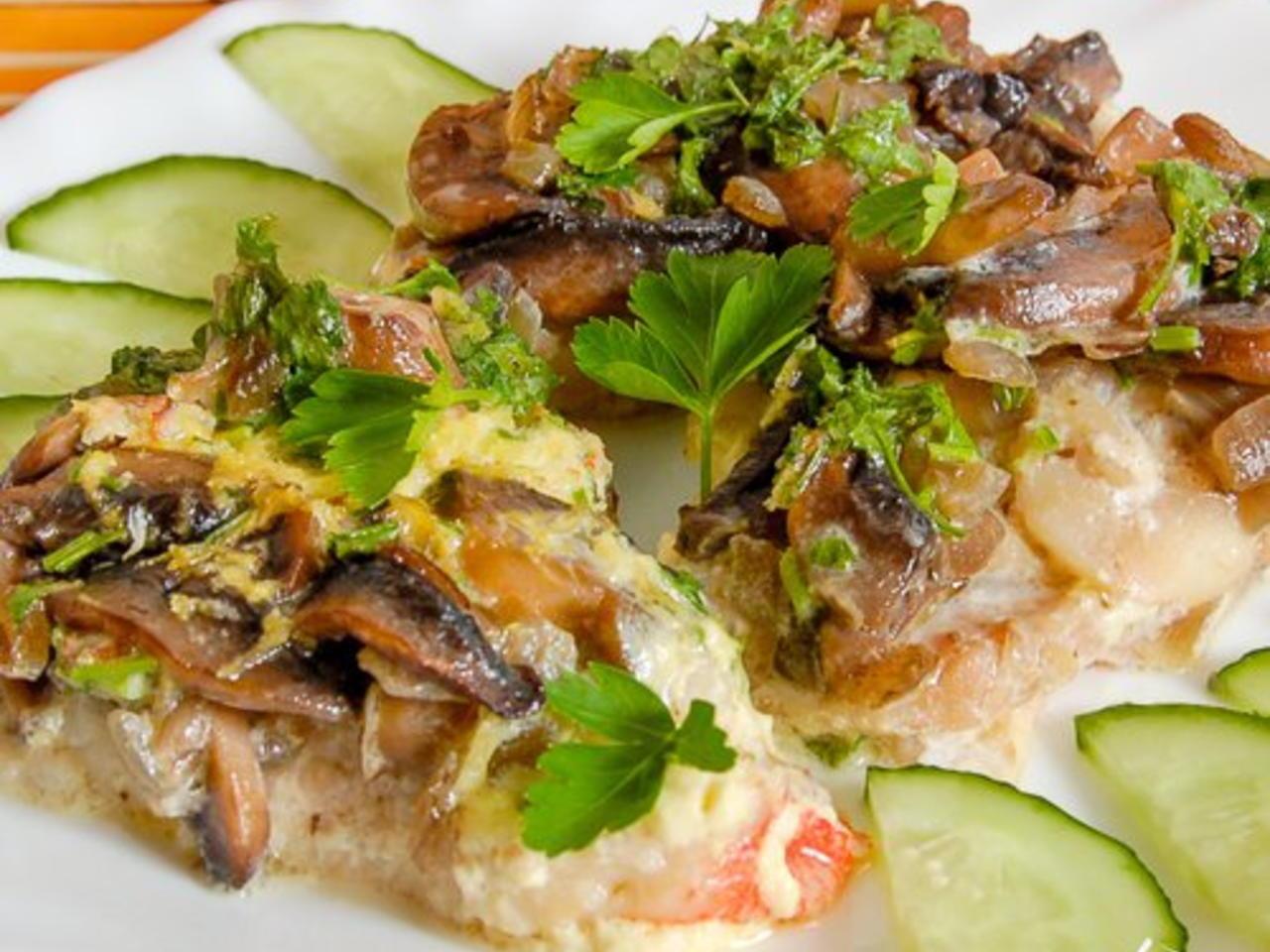 Запеченное филе трески с брокколи
