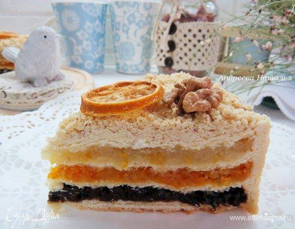 Пирог на йогурте с курагой