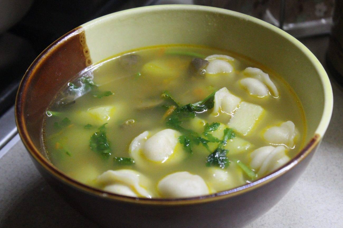 Суп с пельменями и с картошкой, сыром, грибами, лапшой - китайский и узбекский рецепты