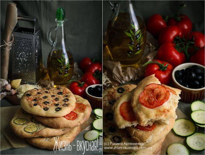 Постная хлебная лепешка с маслинами
