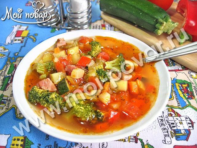 """Итальянский суп """"минестроне"""" с фрикадельками"""