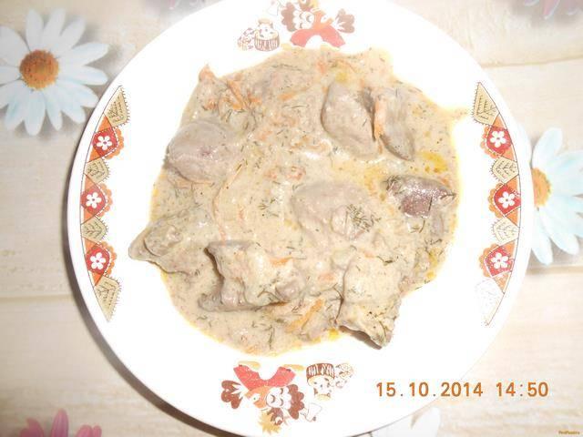 Как приготовить куриную печень в сметане по пошаговому рецепту с фото