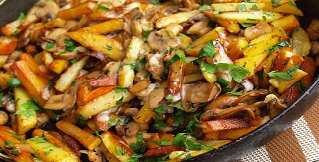 Рецепт приготовления тушеной картошки с грибами