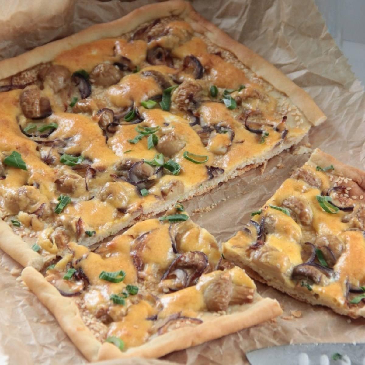 Рецепт пиццы с грибами на тонком тесте