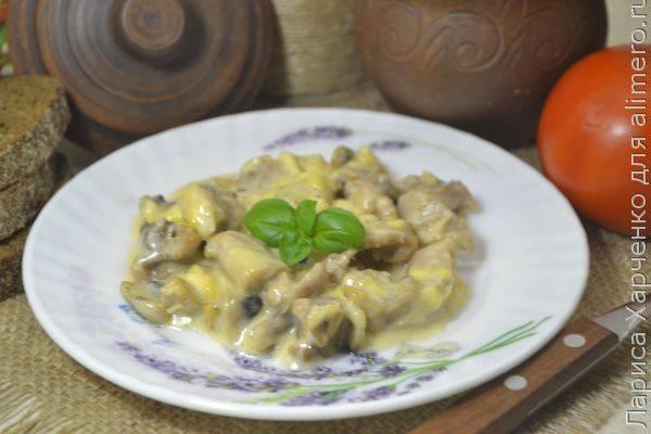Жульен с курицей и грибами за 10 минут - рецепт в микроволновой печи