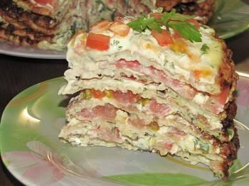 Торт из кабачков с помидорами, морковкой, луком, мясом, грибами, творогом и другие рецепты