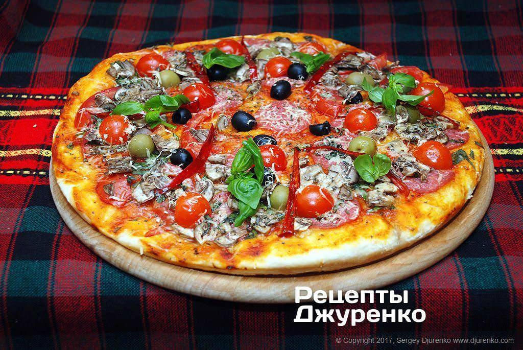 Пицца с грибами и с курицей рецепт