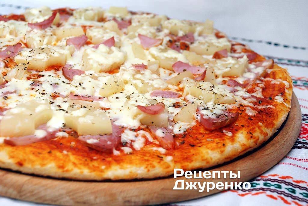 Пицца гавайская с ананасами и курицей