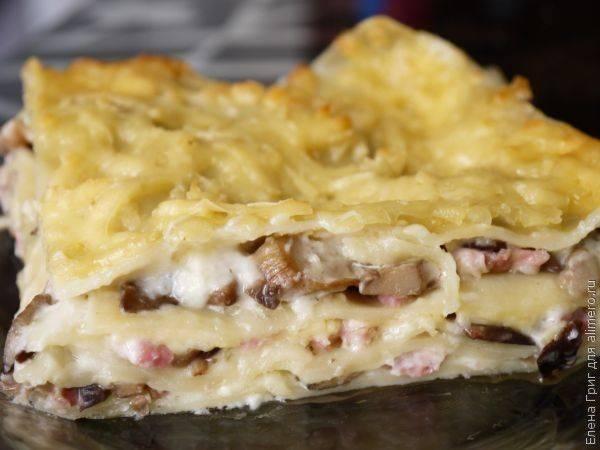 Мясная лазанья «болоньезе» с грибами и ветчиной рецепт | гранд кулинар