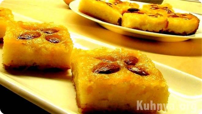 Фруктовый десерт из манки