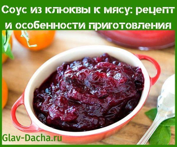 Клюквенный соус - рецепты из замороженных или сушеных ягод, с брусникой и имбирем
