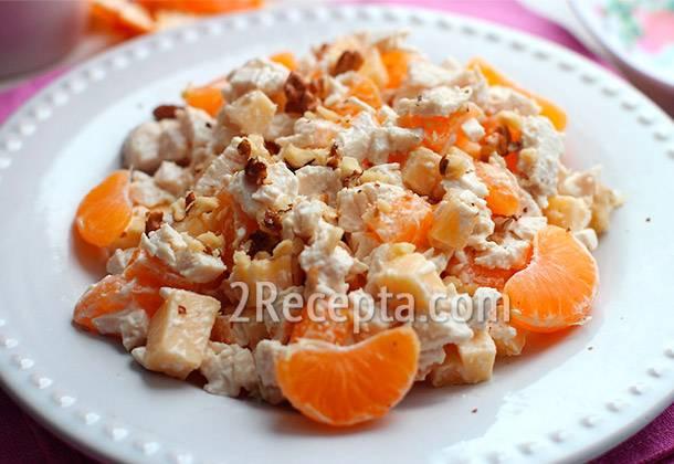 Курица с мандаринами - рецепты салата с сыром, рулетиков и запеченного блюда в духовке, на сковороде, в мультиварке,
