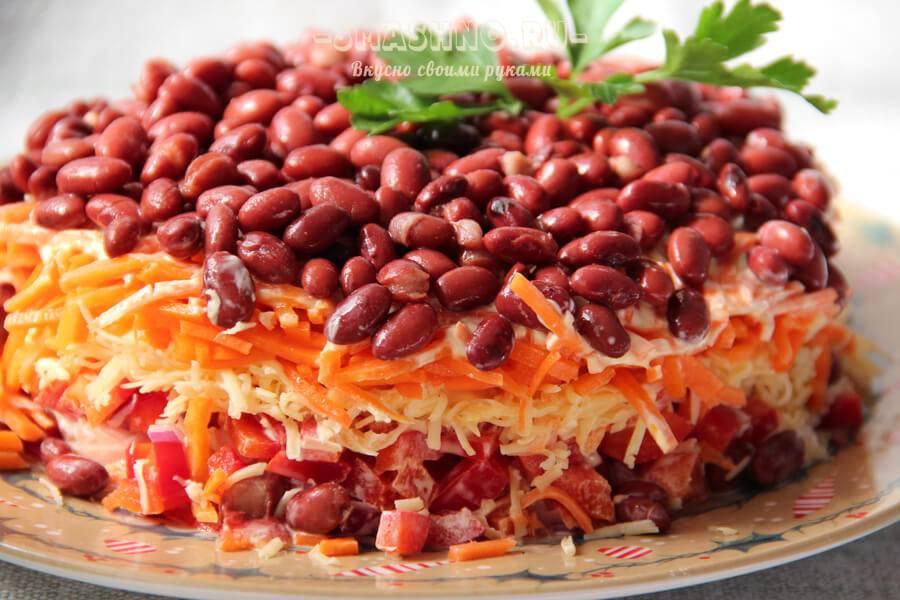 Рецепты салатов с фасолью консервированной