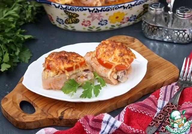 Куриные бедра, фаршированные грибами - пошаговый рецепт с фото |  блюда из курицы