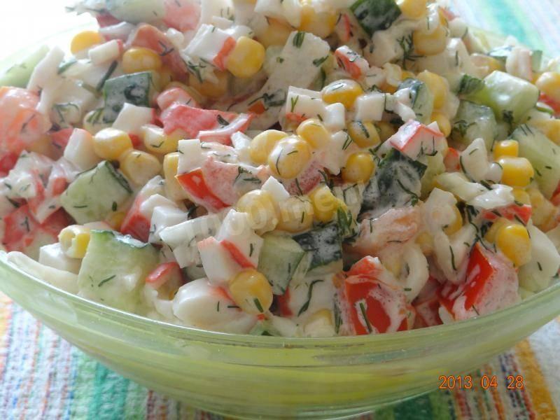 Рецепты салатов из кукурузы, огурцов, помидоров