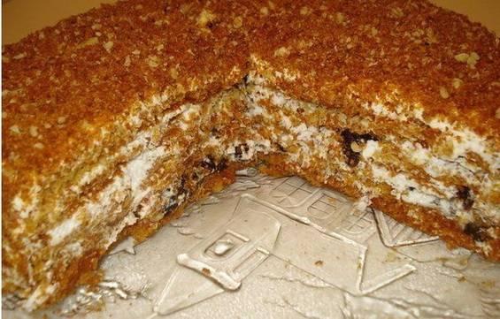 Шоколадно-банановый торт со сметанным кремом