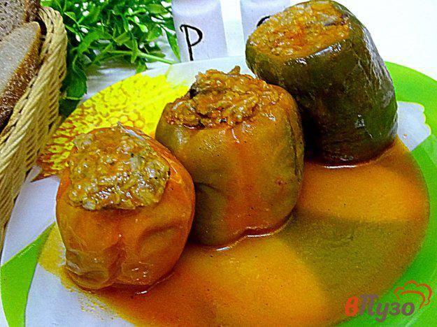 Перец фаршированный рисом и грибами рецепт с фото