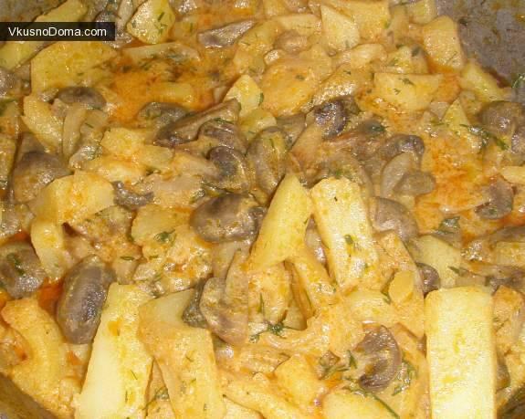 Как вкусно приготовить тушеную картошку с грибами