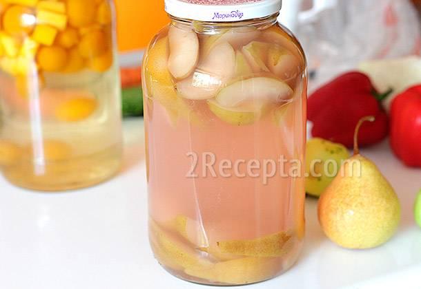 Компот из груш - рецепты из диких фруктов, на зиму с лимонной кислотой, сливами и яблоками
