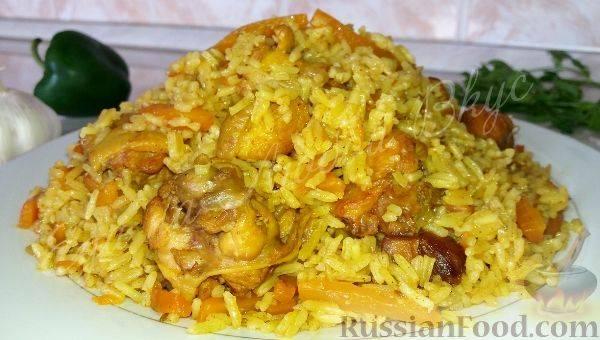 Узбекский плов с курицей и изюмом