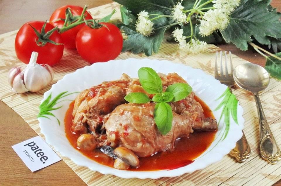 Курица в красном вине с грибами