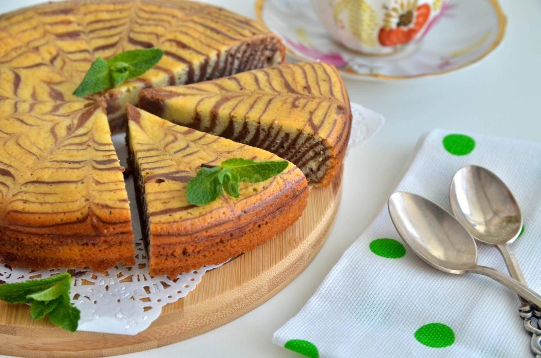 Пирог «зебра», рецепт классический на сметане