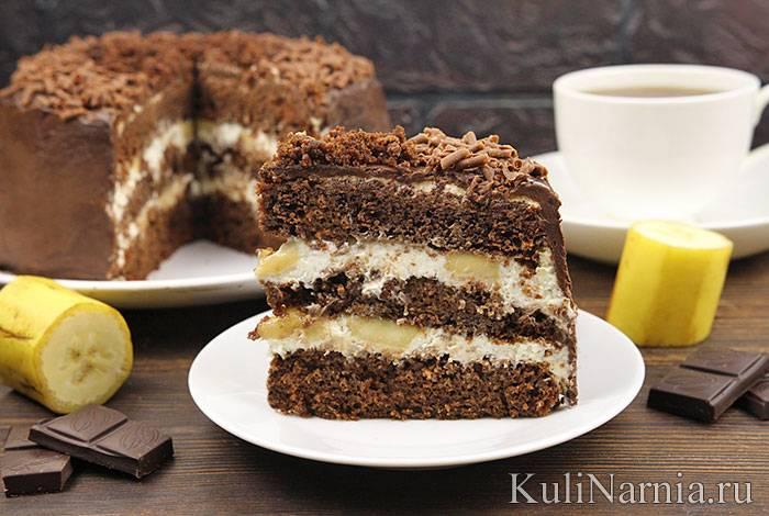 Шоколадный кекс с бананами