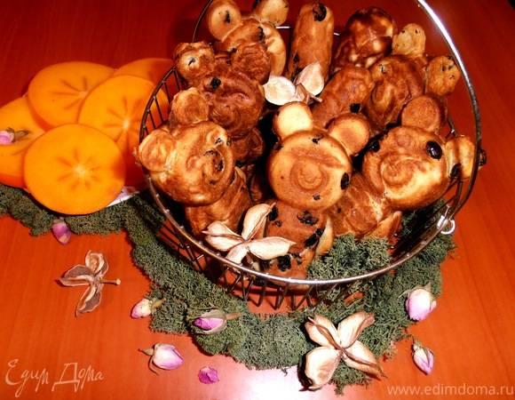 Песочное печенье домашние мишки барни с орешками