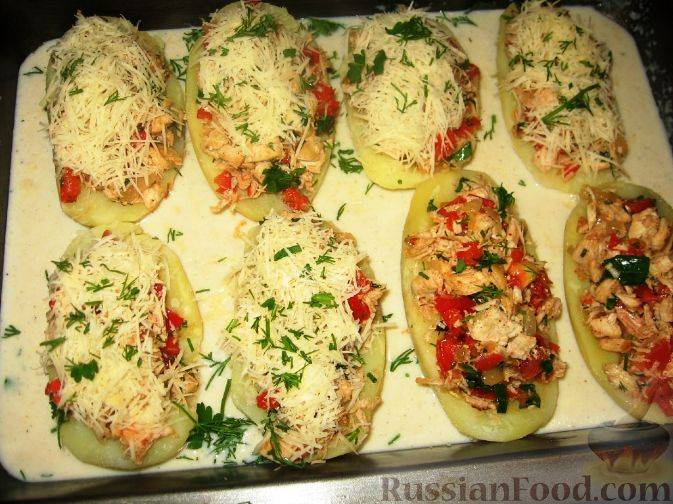 Лодочки из картофеля с начинкой пошаговый рецепт с фото