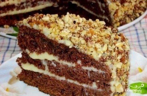 Пышный бисквит на кефире. шоколадный торт с заварным кремом.