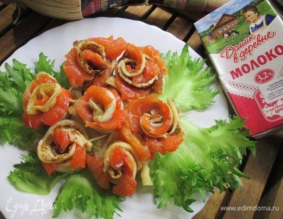 Салат «букет роз» из свеклы с блинами